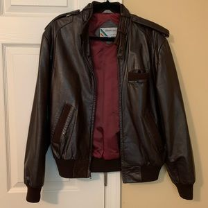 Members Only chocolate brown leather jacket